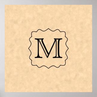 Your Letter. Custom Monogram. Black & Parchment Poster