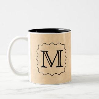 Your Letter. Custom Monogram. Black & Parchment Two-Tone Coffee Mug