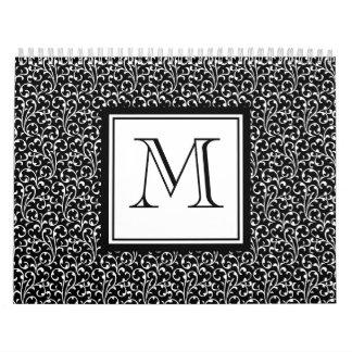 Your Letter. Custom Monogram. Black White Swirls Calendar