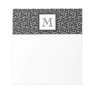 Your Letter. Custom Monogram. Black White Swirls Note Pad