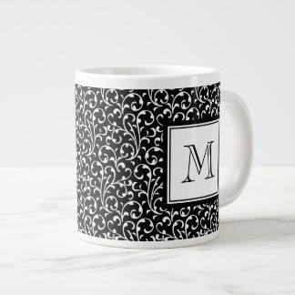 Your Letter. Custom Monogram. Black White Swirls 20 Oz Large Ceramic Coffee Mug