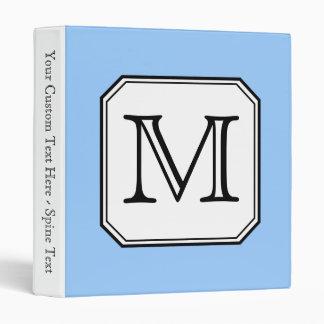 Your Letter. Custom Monogram. Blue Black White. Binder