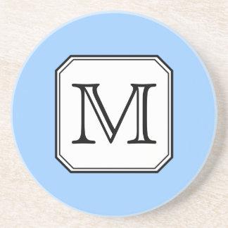 Your Letter. Custom Monogram. Blue Black White. Drink Coaster