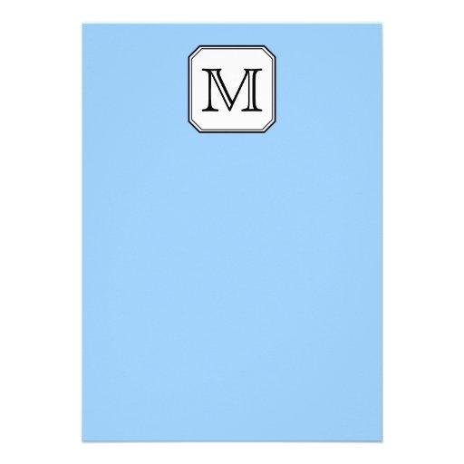 Your Letter. Custom Monogram. Blue Black White. Custom Invitations