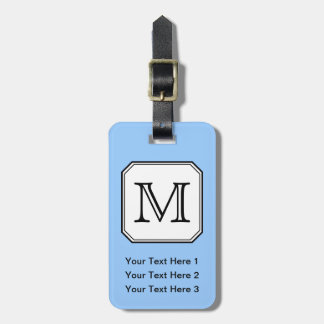 Your Letter. Custom Monogram. Blue Black White. Luggage Tag