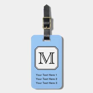 Your Letter. Custom Monogram. Blue Black White. Luggage Tag