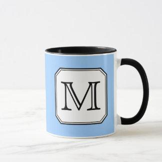 Your Letter. Custom Monogram. Blue Black White. Mug