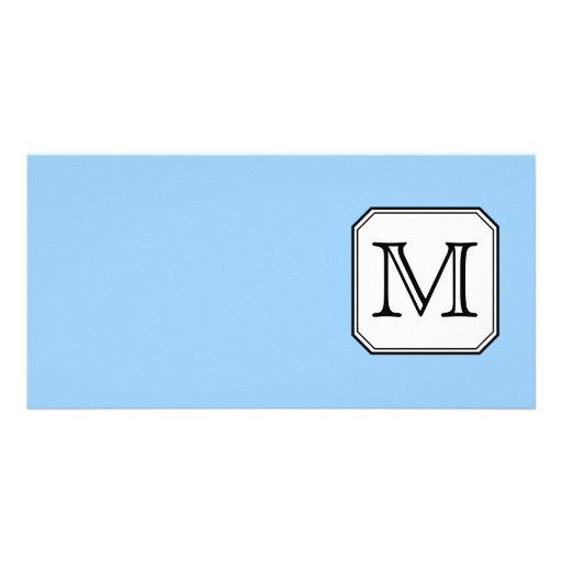 Your Letter. Custom Monogram. Blue Black White. Photo Cards