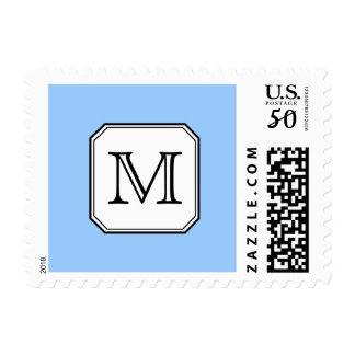 Your Letter. Custom Monogram. Blue Black White. Postage