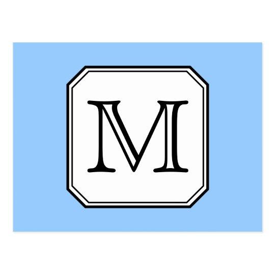 Your Letter. Custom Monogram. Blue Black White. Postcard
