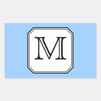 Your Letter. Custom Monogram. Blue Black White. Rectangular Sticker