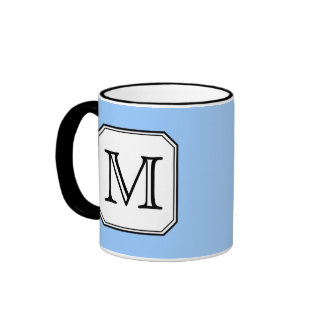 Your Letter. Custom Monogram. Blue Black White. Ringer Mug