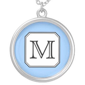 Your Letter. Custom Monogram. Blue Black White. Round Pendant Necklace
