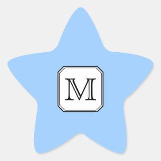 Your Letter. Custom Monogram. Blue Black White. Star Sticker