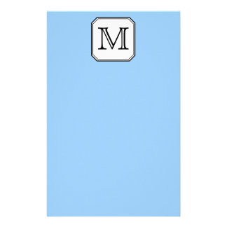 Your Letter. Custom Monogram. Blue Black White. Stationery