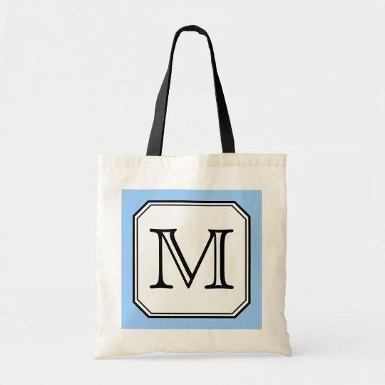 Your Letter. Custom Monogram. Blue Black White. Tote Bag