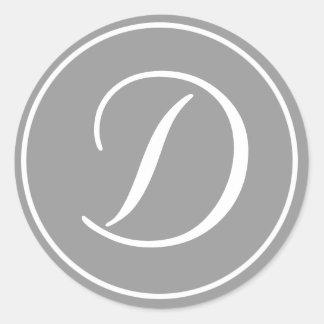 Your Letter, Custom Monogram D Initial Grey Classic Round Sticker