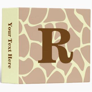 Your Letter. Custom Monogram Giraffe Print Design 3 Ring Binder