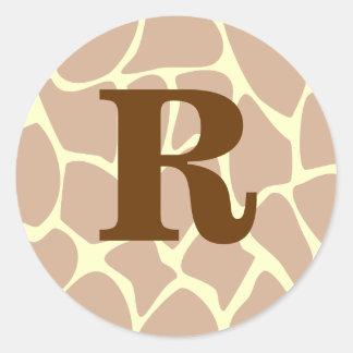 Your Letter. Custom Monogram Giraffe Print Design Classic Round Sticker