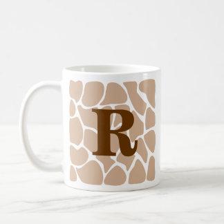 Your Letter. Custom Monogram Giraffe Print Design Coffee Mug