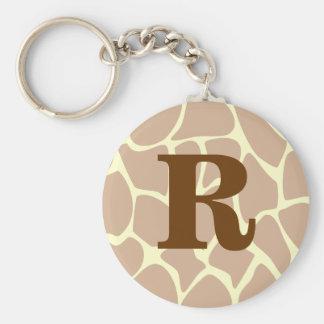 Your Letter Custom Monogram Giraffe Print Design Keychain