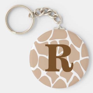 Your Letter. Custom Monogram Giraffe Print Design Keychain