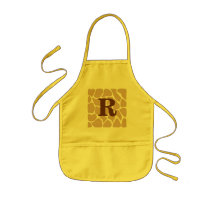 Your Letter. Custom Monogram Giraffe Print Design Kids' Apron