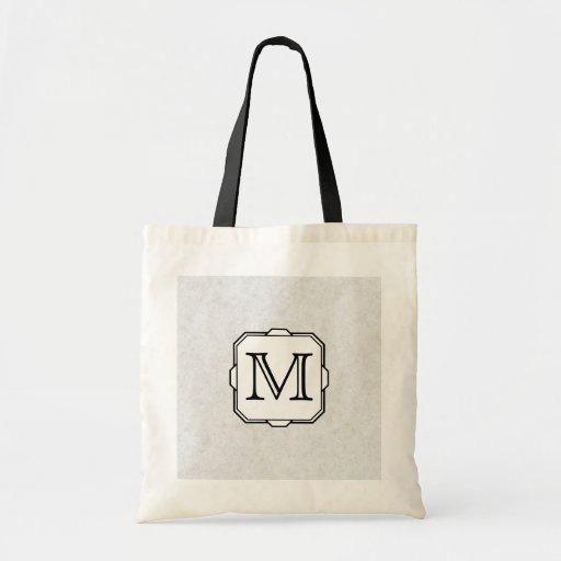 Your Letter. Custom Monogram. Gray, Black & White Bag