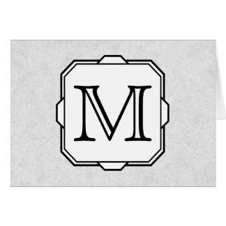 Your Letter. Custom Monogram. Gray, Black & White Card
