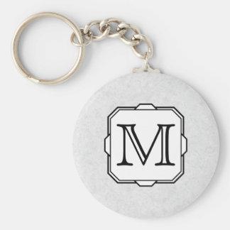 Your Letter. Custom Monogram. Gray, Black & White Keychain