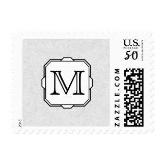 Your Letter. Custom Monogram. Gray, Black & White Postage
