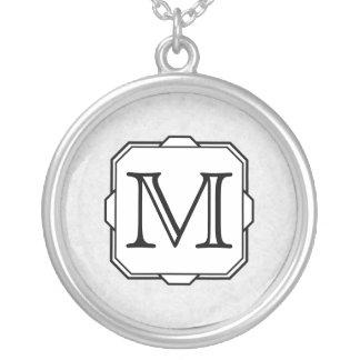 Your Letter. Custom Monogram. Gray, Black & White Round Pendant Necklace