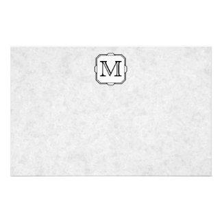 Your Letter. Custom Monogram. Gray, Black & White Stationery