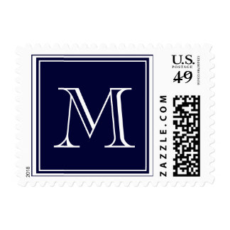 Your Letter. Custom Monogram Initial. Blue Postage