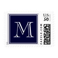 Your Letter. Custom Monogram Initial. Blue Postage