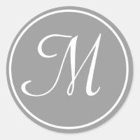 Your Letter, Custom Monogram M Initial Grey Classic Round Sticker