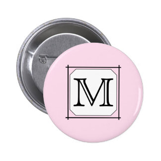 Your Letter. Custom Monogram. Pink Black White 2 Inch Round Button