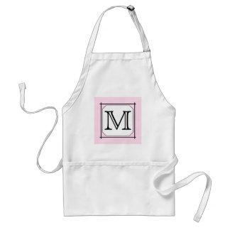Your Letter. Custom Monogram. Pink Black White Apron