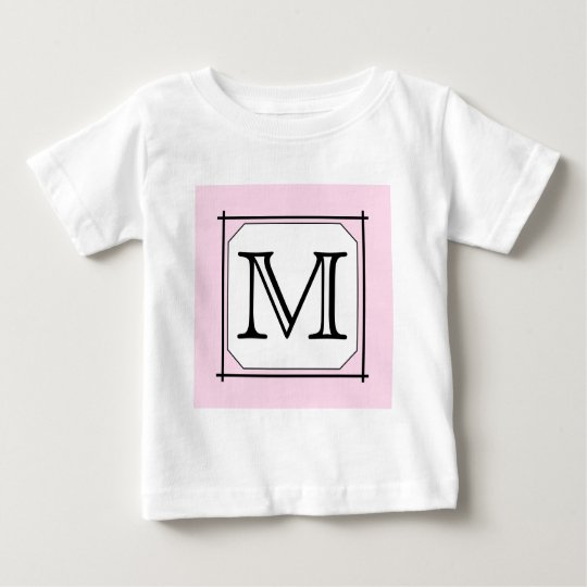 Your Letter. Custom Monogram. Pink Black White Baby T-Shirt