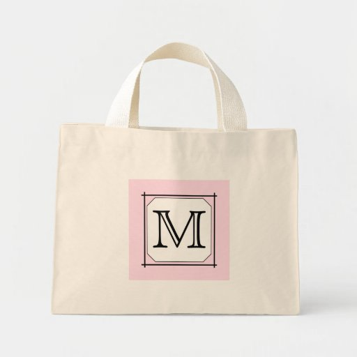 Your Letter. Custom Monogram. Pink Black White Tote Bag