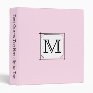 Your Letter. Custom Monogram. Pink Black White Binders