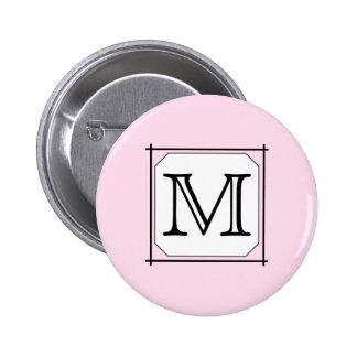 Your Letter. Custom Monogram. Pink Black White Pins