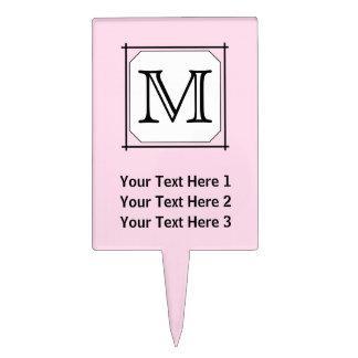 Your Letter. Custom Monogram. Pink Black White. Cake Topper