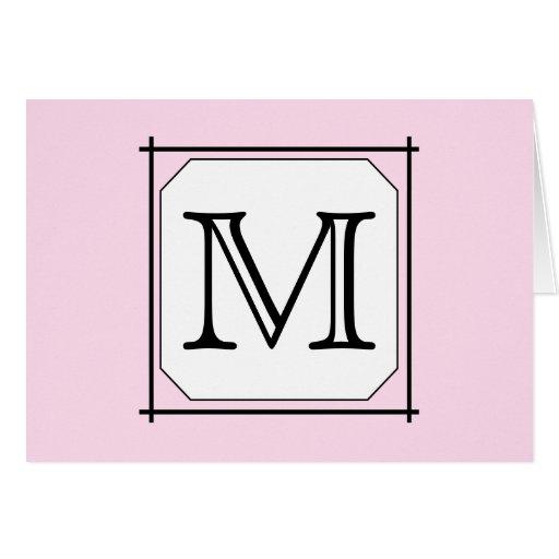 Your Letter. Custom Monogram. Pink Black White Card