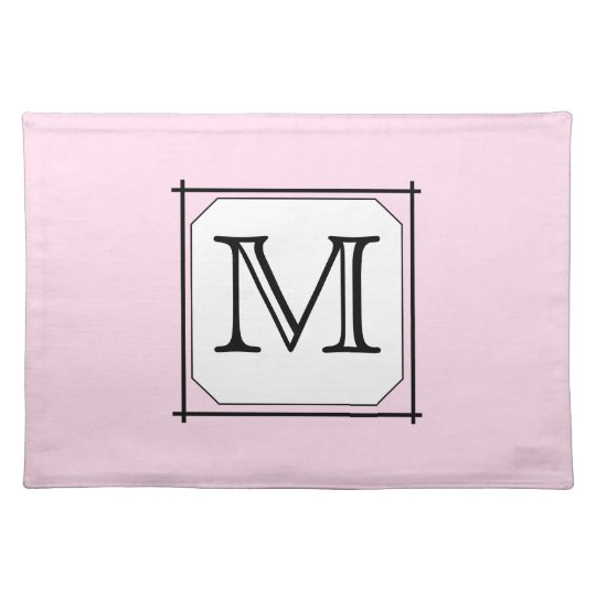 Your Letter. Custom Monogram. Pink Black White. Cloth Placemat