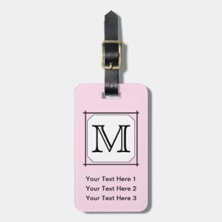 Your Letter. Custom Monogram. Pink Black White. Bag Tag