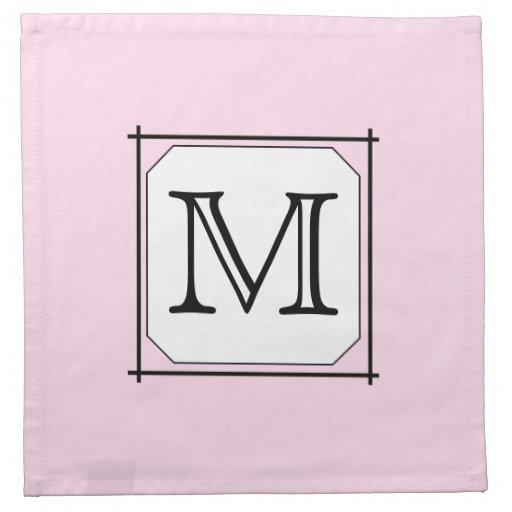 Your Letter. Custom Monogram. Pink Black White. Printed Napkins