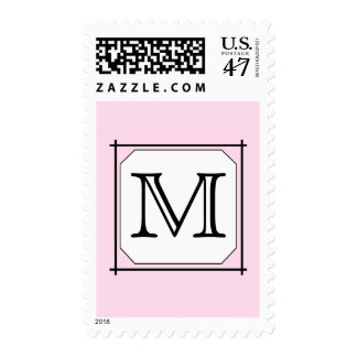 Your Letter. Custom Monogram. Pink Black White Postage