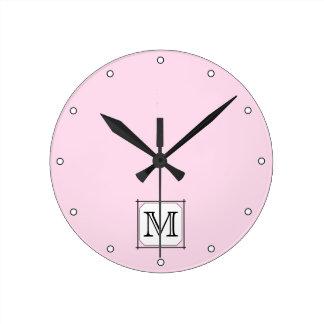 Your Letter. Custom Monogram. Pink Black White. Round Clock