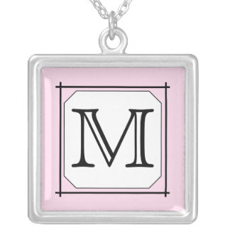 Your Letter. Custom Monogram. Pink Black White Silver Plated Necklace